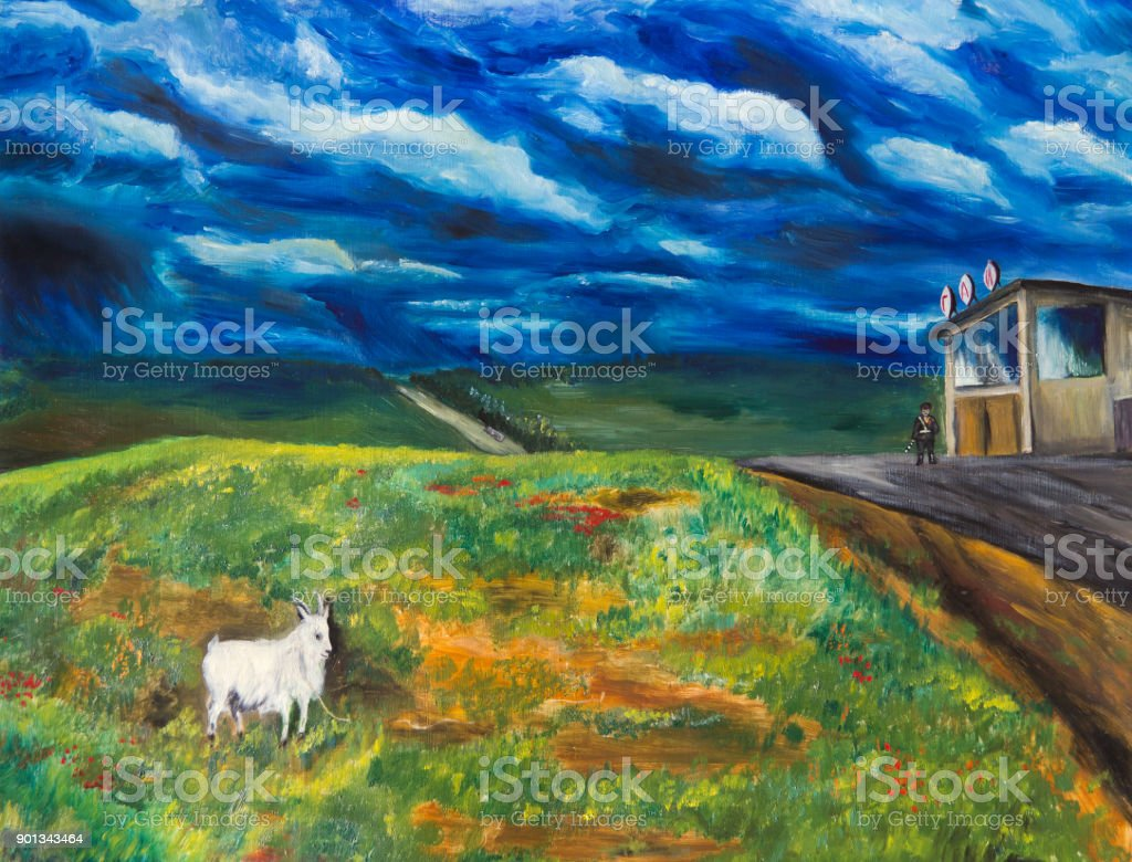 Goat in the pasture vector art illustration