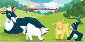 Goats Family Vector Illustration