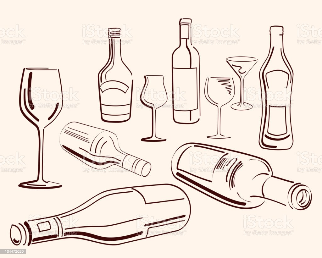 goblets and bottles royalty-free stock vector art