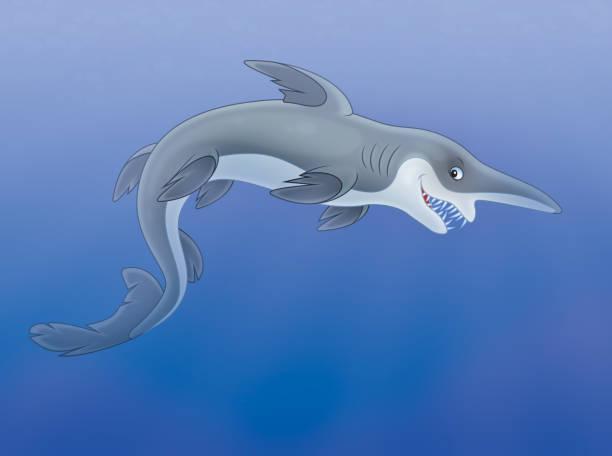 Goblin shark Illustration of a deep-see goblin shark with an insidious smile goblin shark stock illustrations