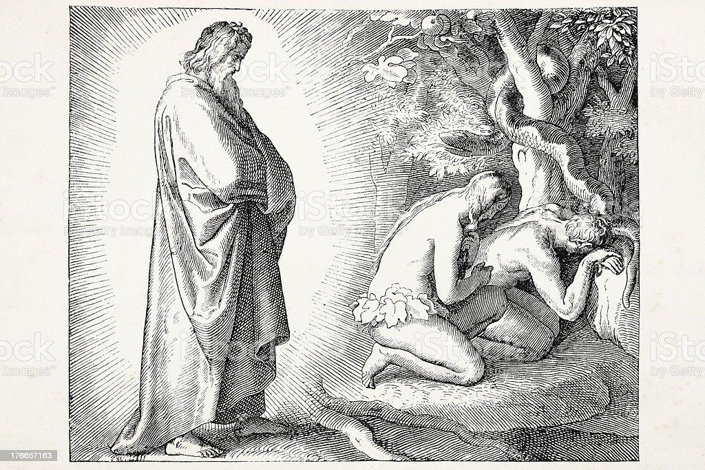 Dios descubrimiento de Eve con apple para Adam ilustración de dios descubrimiento de eve con apple para adam y más banco de imágenes de adulto libre de derechos