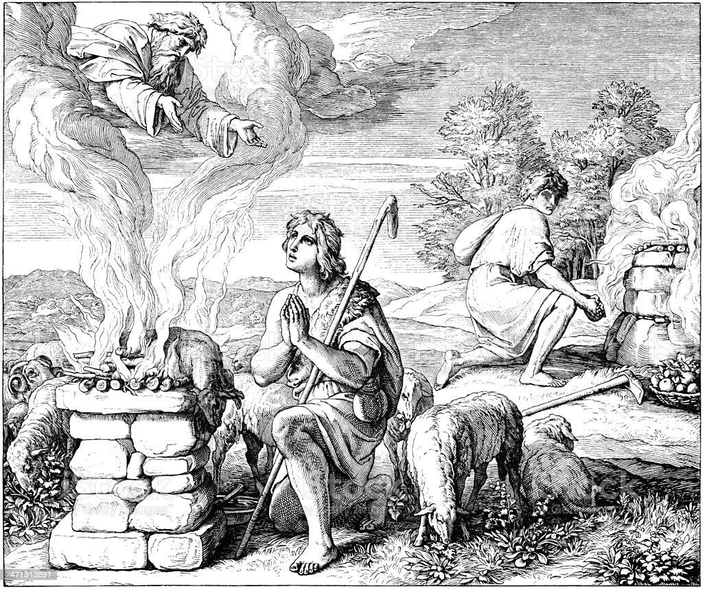 God Prefers Abel's Sacrifice vector art illustration