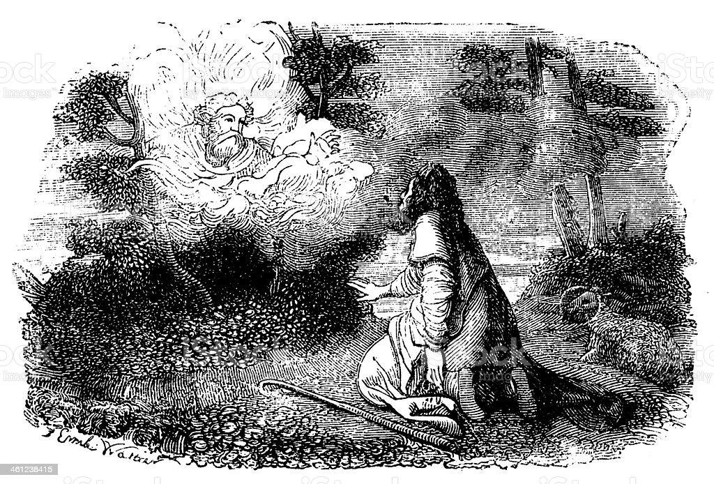 God Speak to Moses Antique Engraved Image vector art illustration