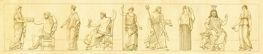 Gods from the classical period   Antique Historic Illustrations