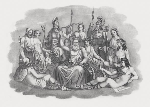 gods of greek mythology, lithograph, published in 1852 - mythology stock illustrations