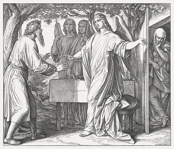 God's promise to Abraham (Genesis 18), wood engraving, published 1860 Abraham Receives the Message from God that he Shall Have a Son (Genesis 18). Wood engraving by Julius Schnorr von Carolsfeld (German painter, 1794 - 1872), published in 1860. Abraham stock illustrations