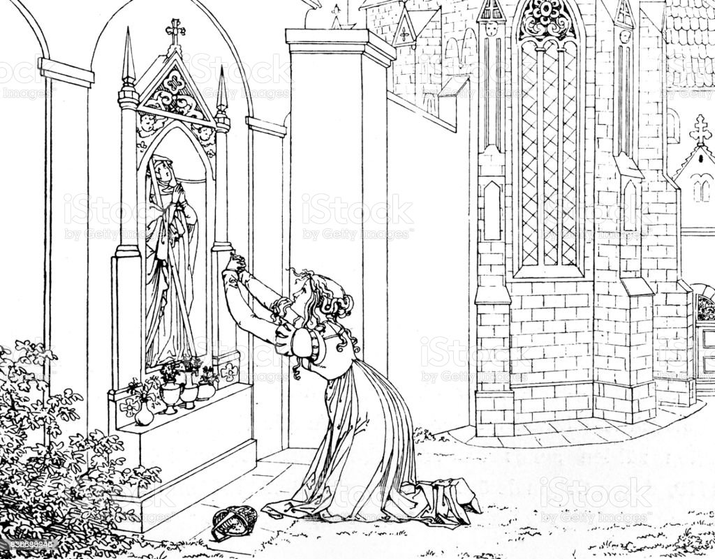 Goethe Faust: woman kneeling in front of a statue, praying