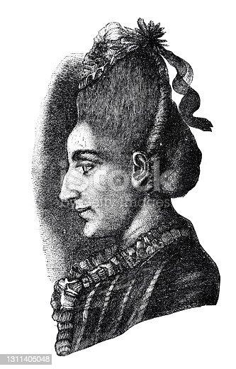istock Goethe's sister Cornelia, headshot, side view, up hairstyle 1311405048