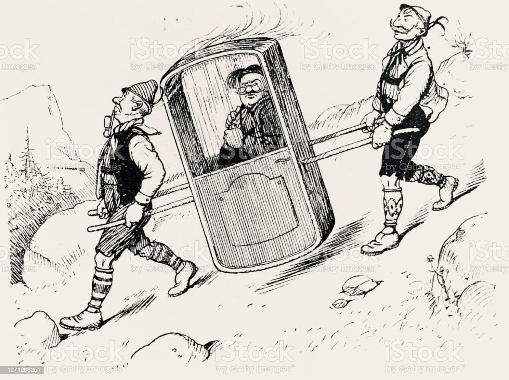 Going Down The Hill With A Sedan Chair Stock Illustration Download Image Now Istock
