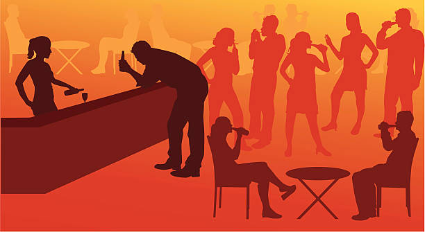 Going out for drinks vector art illustration