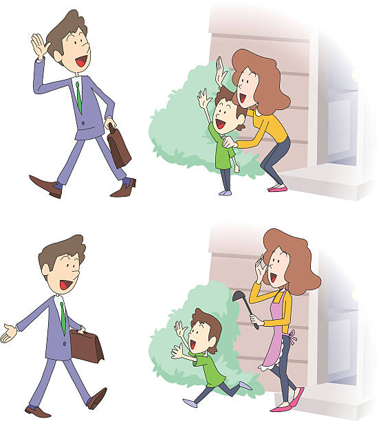 Going to office and Coming home vector art illustration