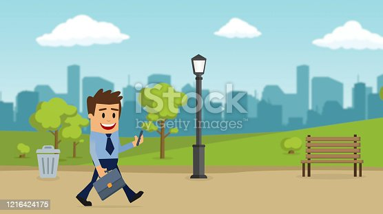 istock Going to work, Enjoying a solitary walk. Businessman walking 2d character. 1216424175