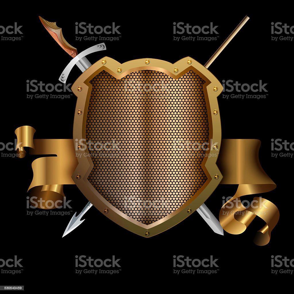 Gold Ancient Shield With Spear And Sword Stock Vector Art & More