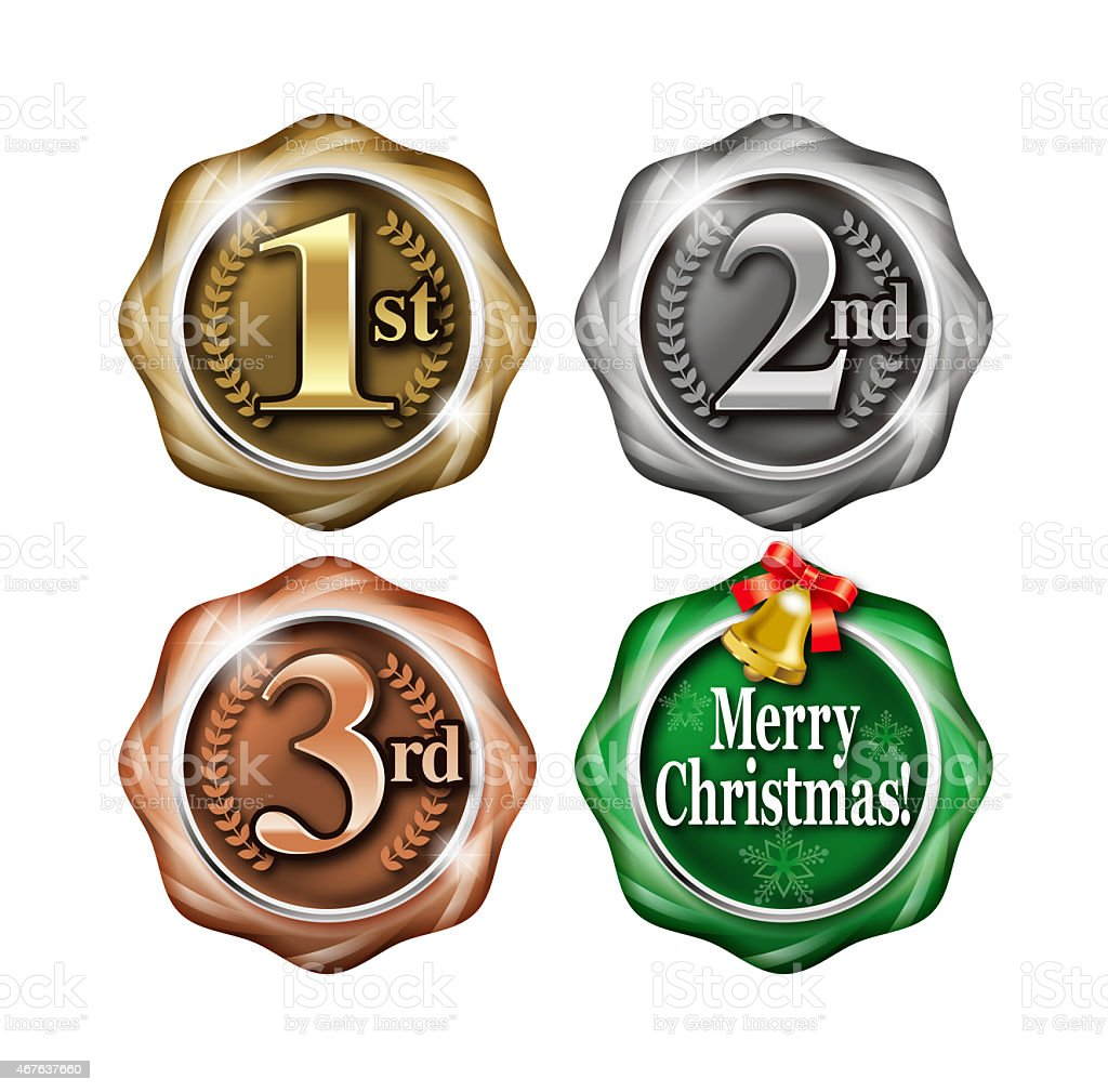 Gold and silver and bronze medal. vector art illustration