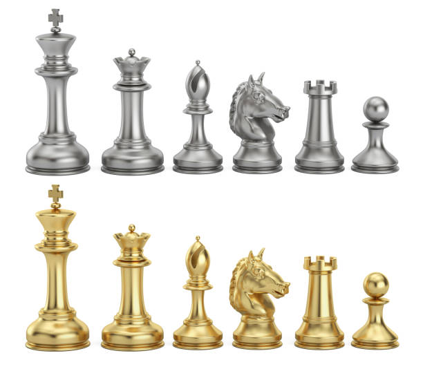 Gold and silver chess figures in row, 3D rendering vector art illustration