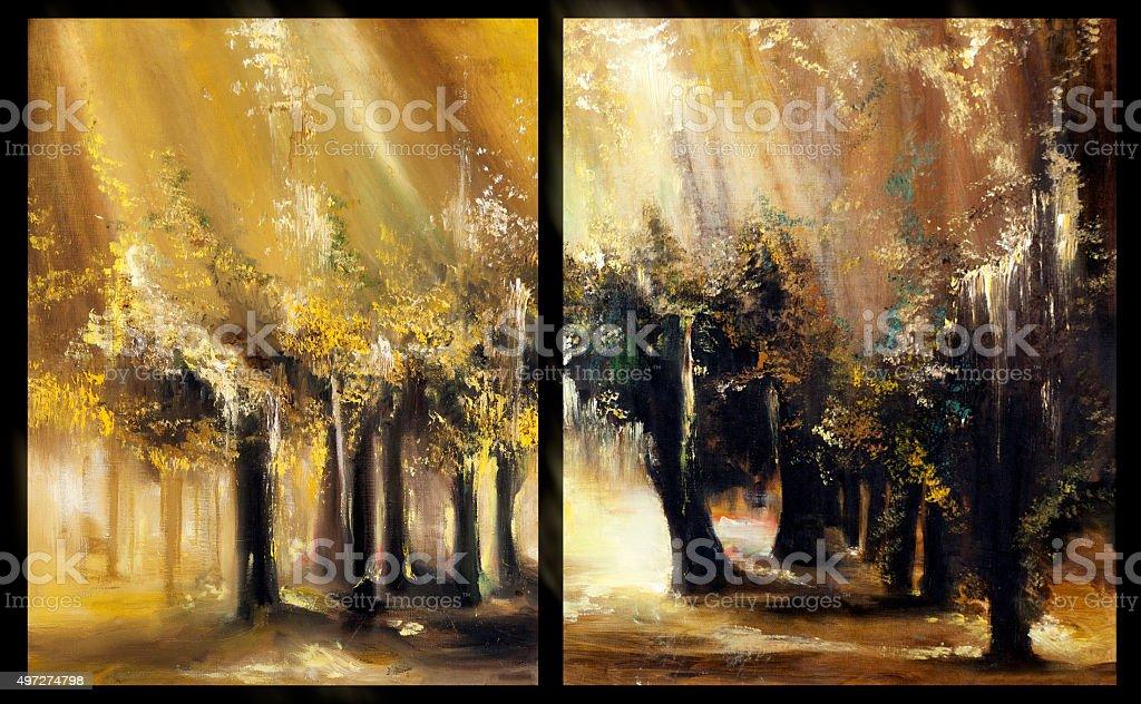 Goldene Herbst Gemalde Visuelle Kunst Stock Vektor Art Und Mehr Bilder Von 2015 Istock