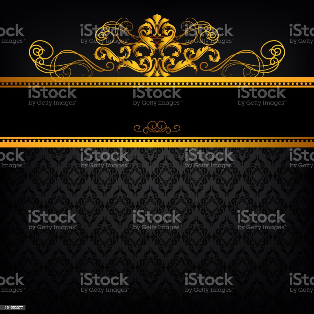 Gold Banner on Black Background vector art illustration