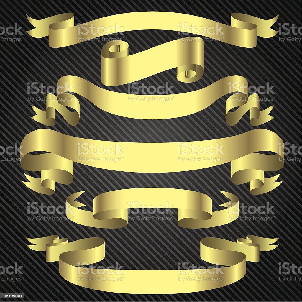 Gold banner set vector art illustration