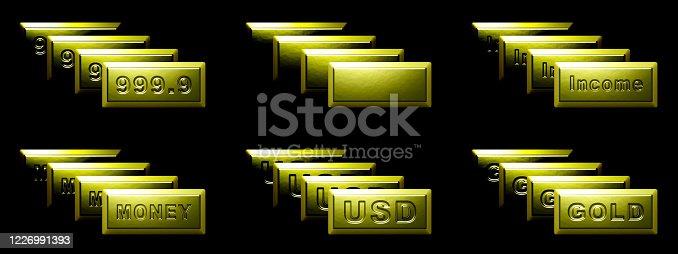 Gold bullion in black background. 3D Illustration.