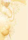 Christmas gold background with balls and snowflakes.