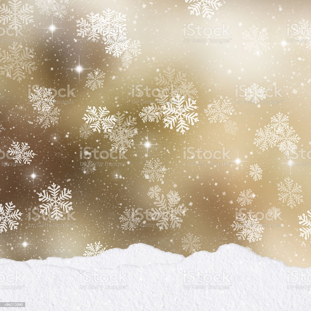 Gold Christmas background with mounds of snow vector art illustration