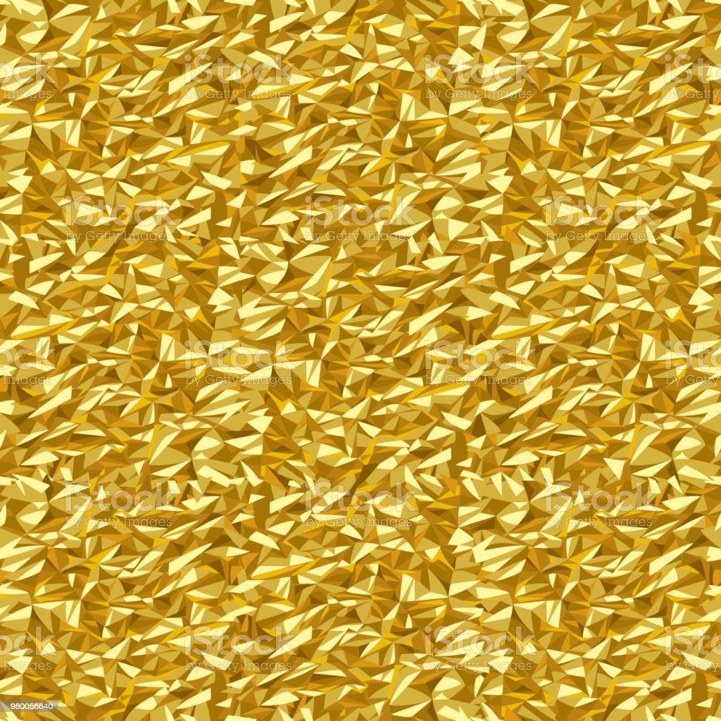 Gold crumpled foil texture abstract seamless pattern background vector art illustration