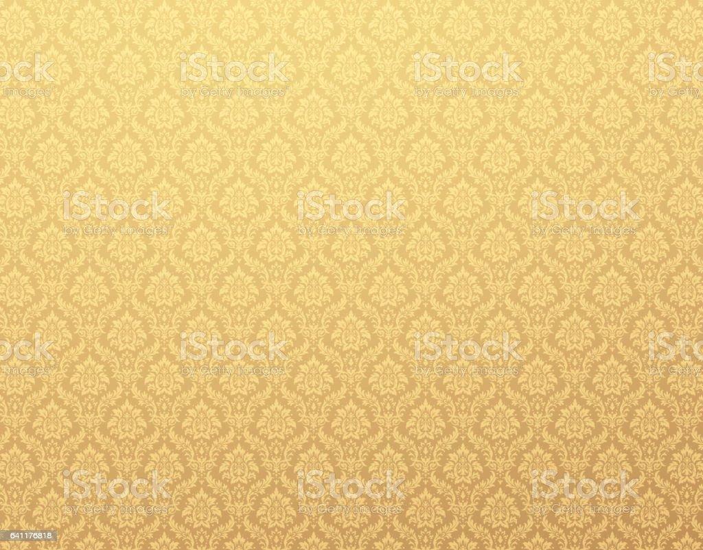 Plano de fundo padrão ouro de Damasco - ilustração de arte em vetor