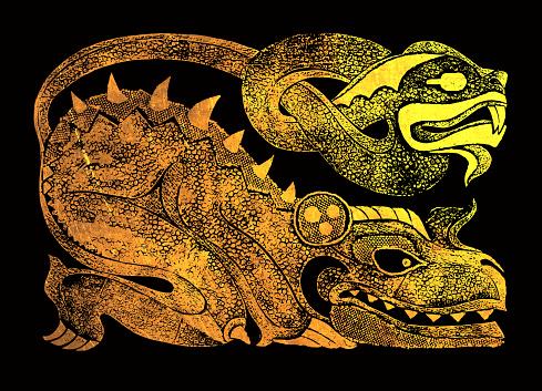 Gold Ehecatl (Aztec mythology character) on black background