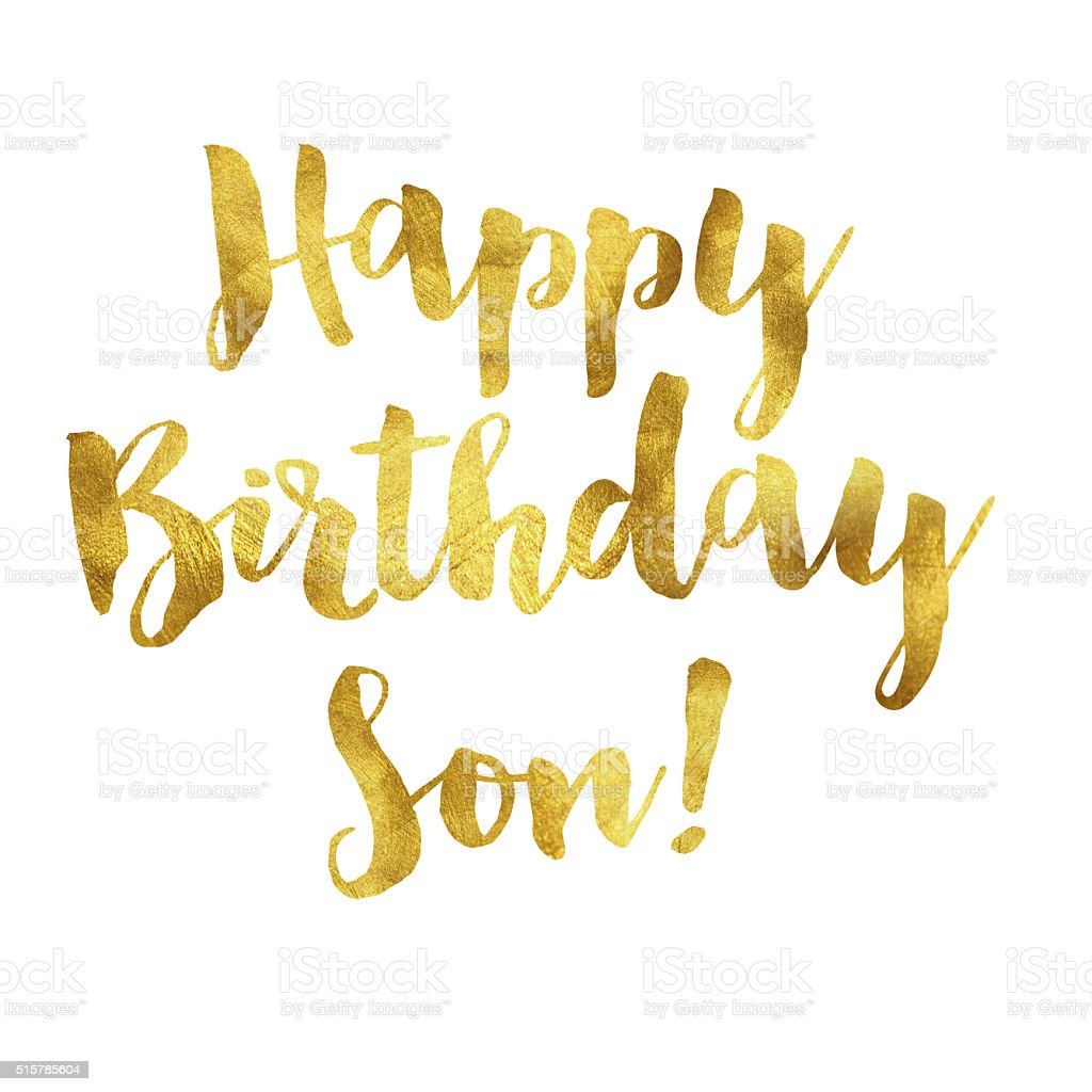 Gold Foil Happy Birthday Son Message Stock Illustration - Download