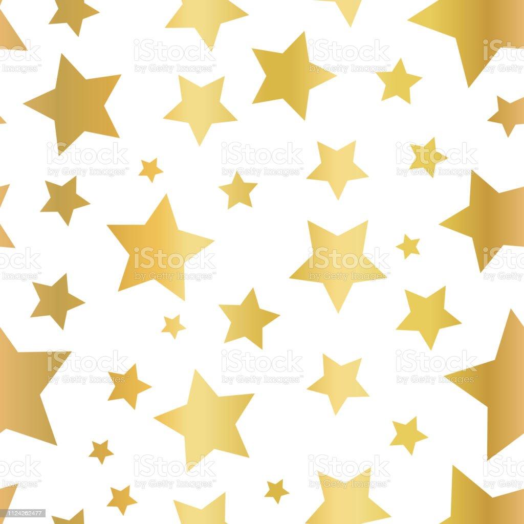 Gold foil star shapes seamless vector pattern. Golden stars on white...