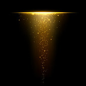 istock Gold glare from dusty upside down. Gold sparkles with gold pieces isolated on black background. Gold shimmery dust with light effect. Vector illustration 1275881690