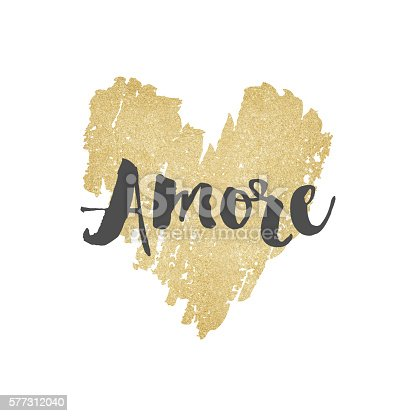 istock Gold glitter amore heart background 577312040