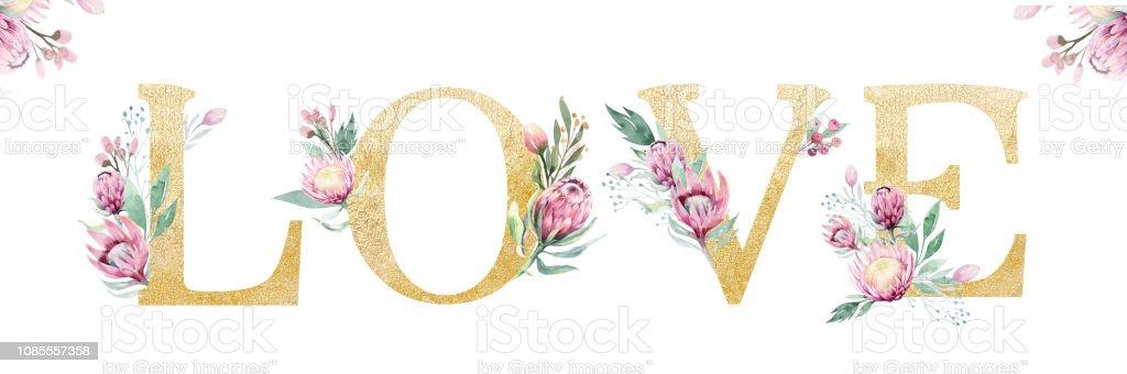 Gold Glitter Letter Alphabet Love Isolated Golden Alphabetic