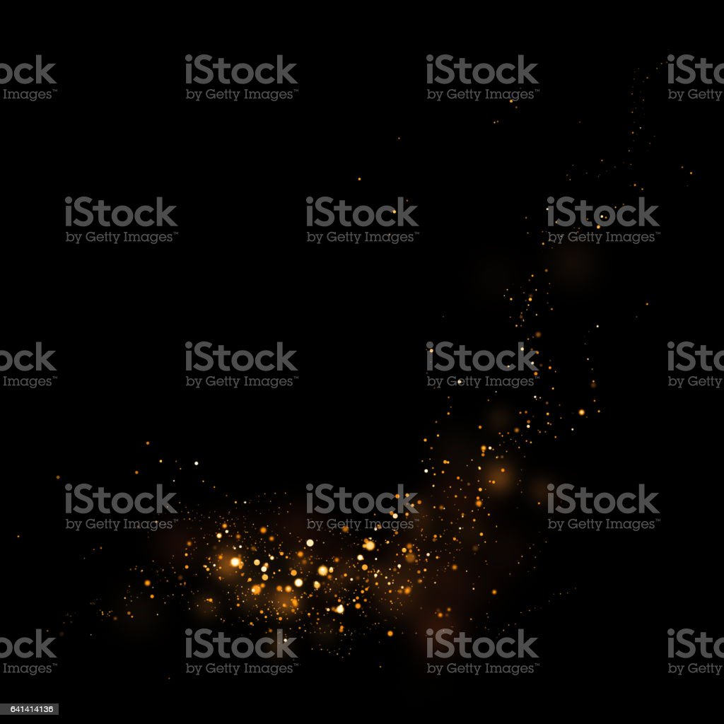 Gold glittering star light and bokeh.Magic dust abstract background element for your product. vector art illustration