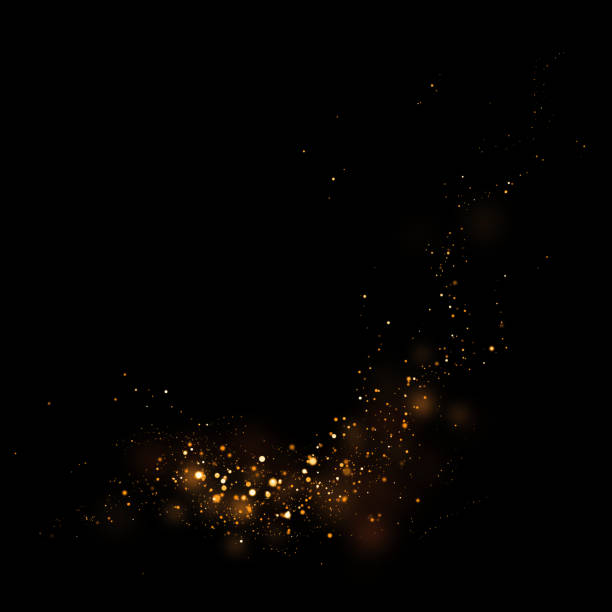 gold glittering star light and bokeh.magic dust abstract background element for your product. - light strings stock illustrations, clip art, cartoons, & icons