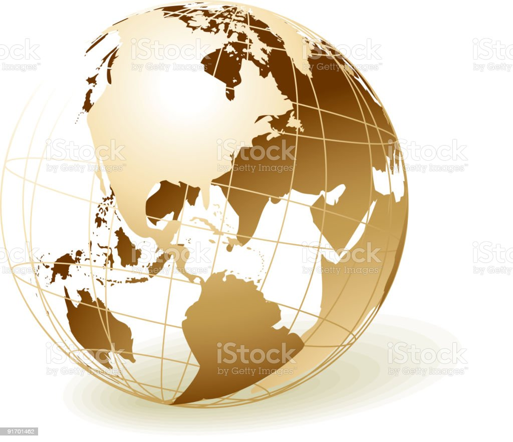 Gold globe with America royalty-free gold globe with america stock vector art & more images of abstract