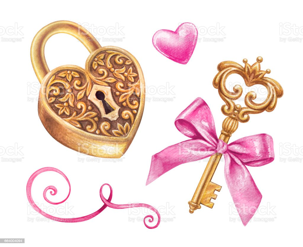 gold key and heart shaped lock design elements set ribbon
