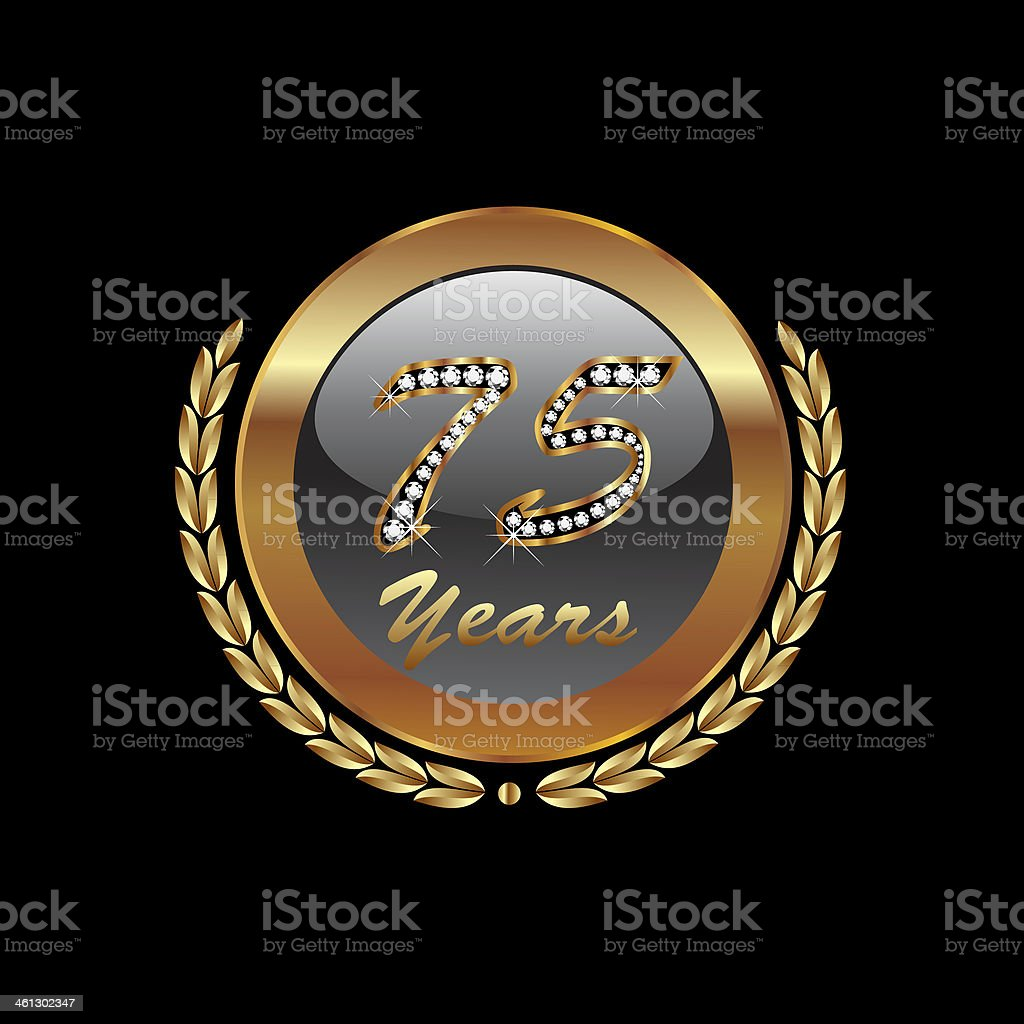 Gold laurel wreath 75th anniversary royalty-free stock vector art