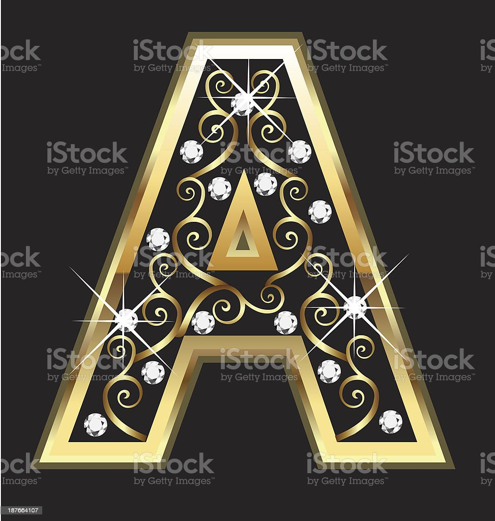 Gold letter A with swirly ornaments royalty-free stock vector art