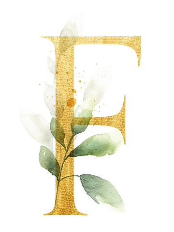 Gold letter F decorated with watercolor leaves