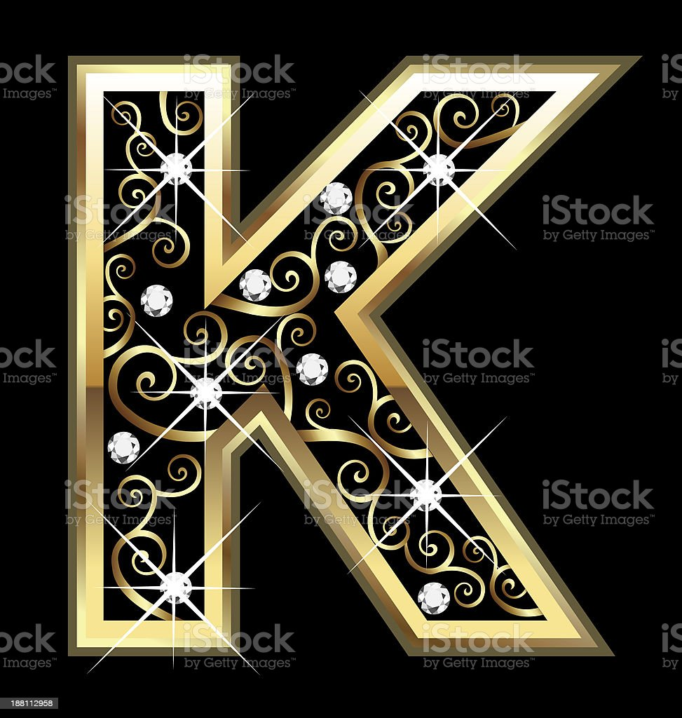 Gold letter K with swirly ornaments background vector art illustration