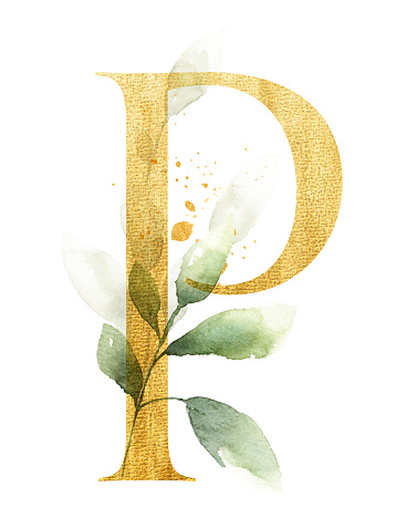 Gold letter P decorated with watercolor leaves