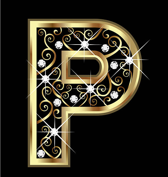 Gold Letter P With Swirly Ornaments Vector Art Illustration