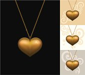 """""""Gold locket on different backgrounds. Download contains EPS 8, AI 8, PDF, JPEG (4500 x 3980px)."""""""