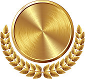 Gold brushed medal with wreath.