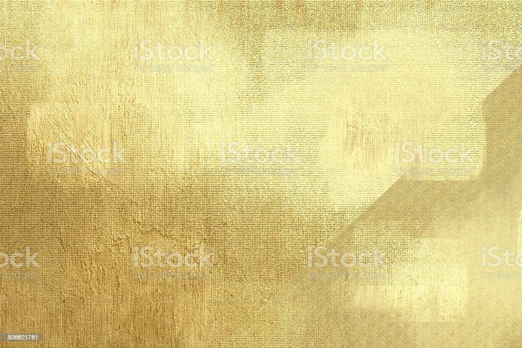 Gold metallic background, linen texture, bright festive backdrop vector art illustration