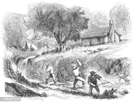 Men mining gold at Grass Valley in California, United States of America (circa mid 19th century). Vintage etching circa mid 19th century.