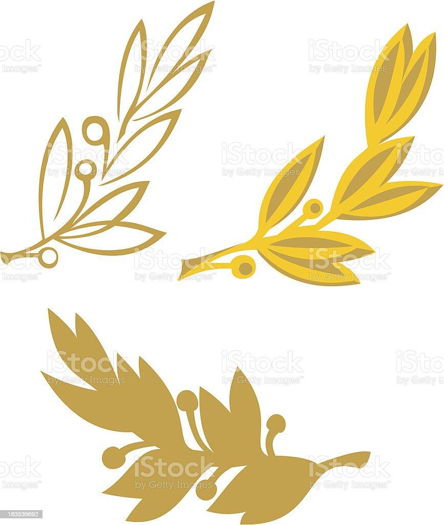 Gold olive branch vector art illustration