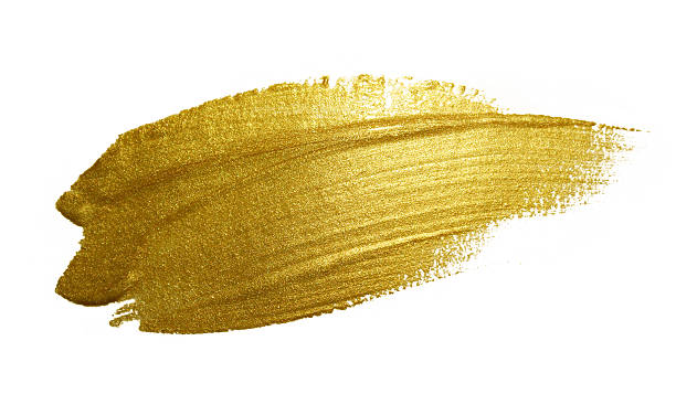 gold paint brush stroke. - paint texture stock illustrations, clip art, cartoons, & icons