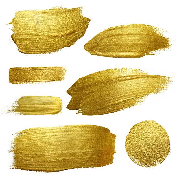 ilustrações, clipart, desenhos animados e ícones de coloração de pincelada de tinta dourada purê conjunto. - planos de fundo borrados
